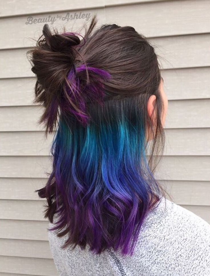 Green Blue Purple Ombre Under Later Hair Dye Luxury