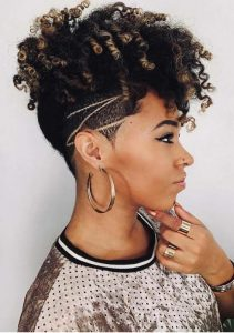 Black Curls using Undercut