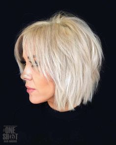 Layered bob cut with bangs blonde hair
