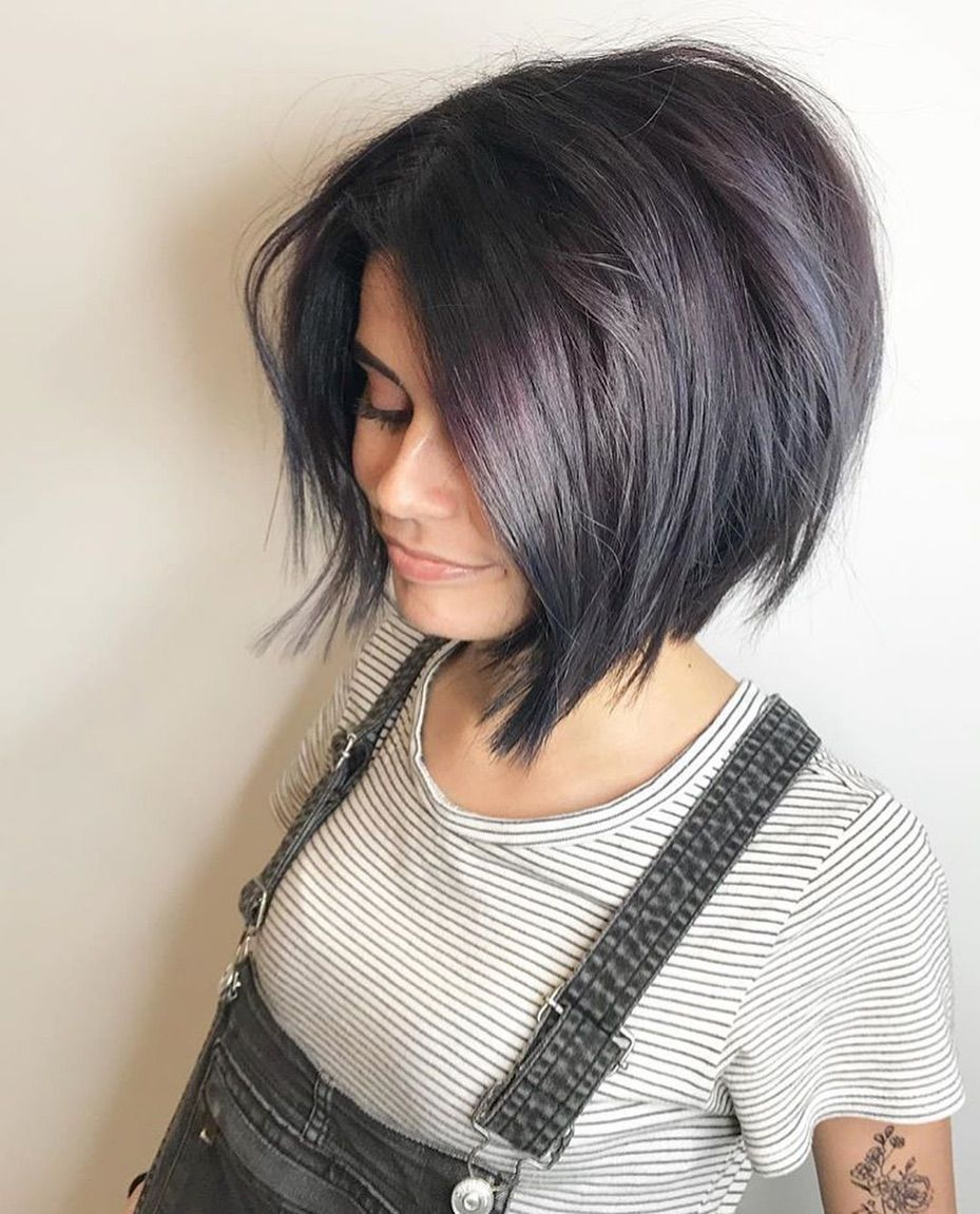 Layered bob cut with bangs