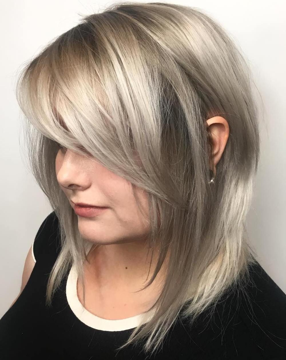 Long layered bob with side bangs