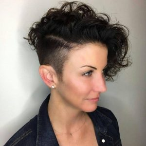 Curly Black Pixie with Shaved Side Details