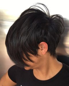 Short African-American Pixie Cut With Long Bangs